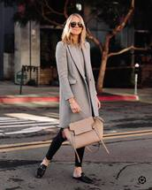 bag,leather bag,black loafers,mules,cropped jeans,black skinny jeans,grey coat,sweater,sunglasses