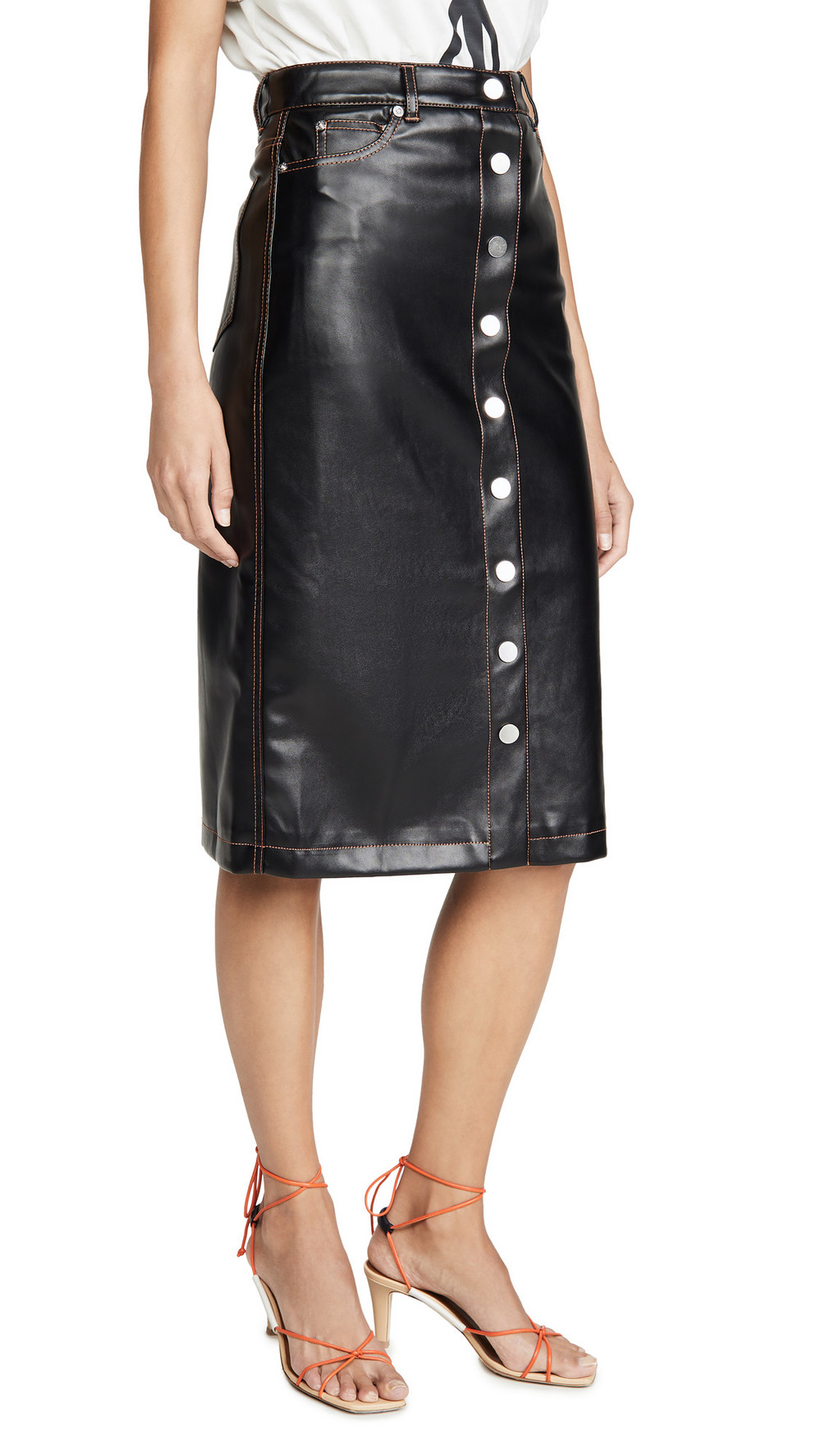 Proenza Schouler PSWL Faux Leather Button Front Midi Skirt in black