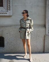 romper,long sleeves,olive green,white sandals