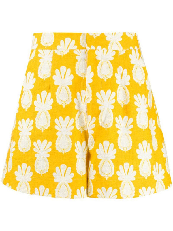 La Doublej Good Butt pineapple-print shorts in yellow