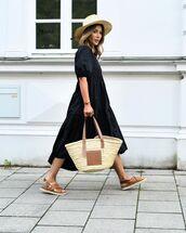 dress,black dress,midi dress,flat sandals,loewe bag,hat