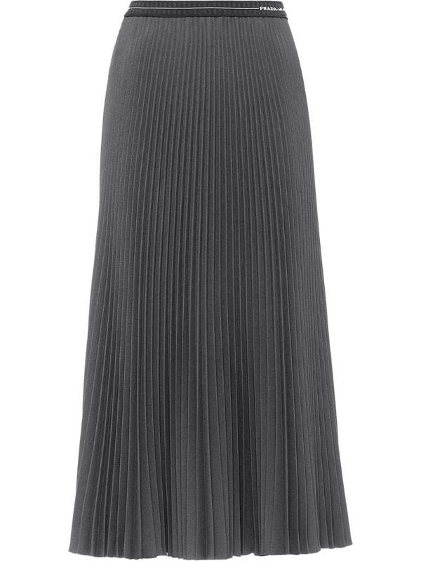 Prada logo-detail pleated skirt in grey
