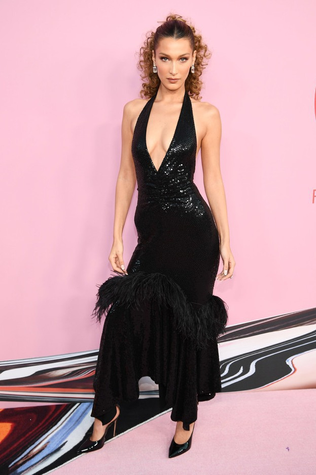 dress sequins sequin dress feathers black dress bella hadid model celebrity