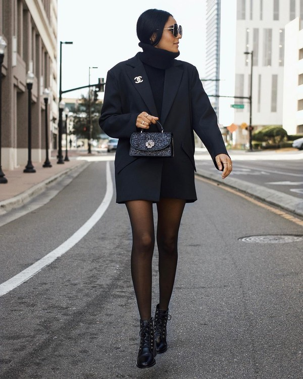 coat black blazer ankle boots black boots tights black sweater turtleneck sweater black bag