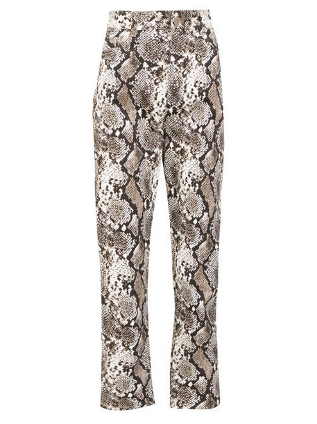 The Attico - High-rise Snake-print Cropped Jeans - Womens - Black White