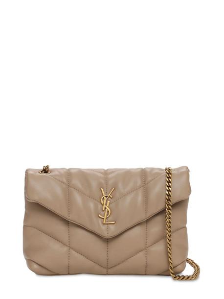 SAINT LAURENT Mini Puffer Loulou Leather Bag in beige