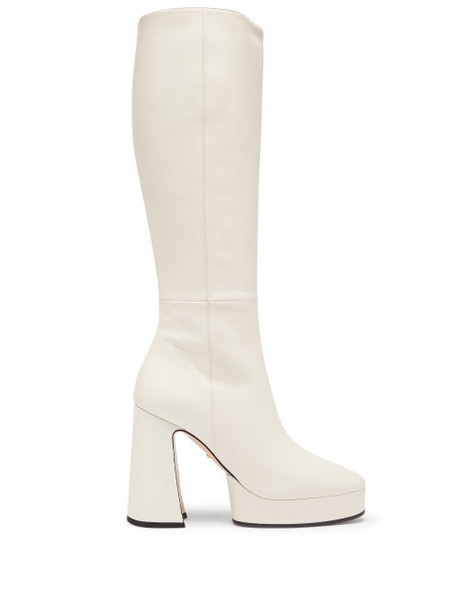 Gucci - Madame Knee-high Leather Platform Boots - Womens - White