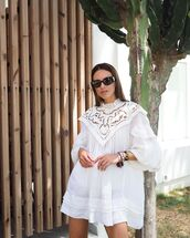 dress,white dress,long sleeve dress,mini dress