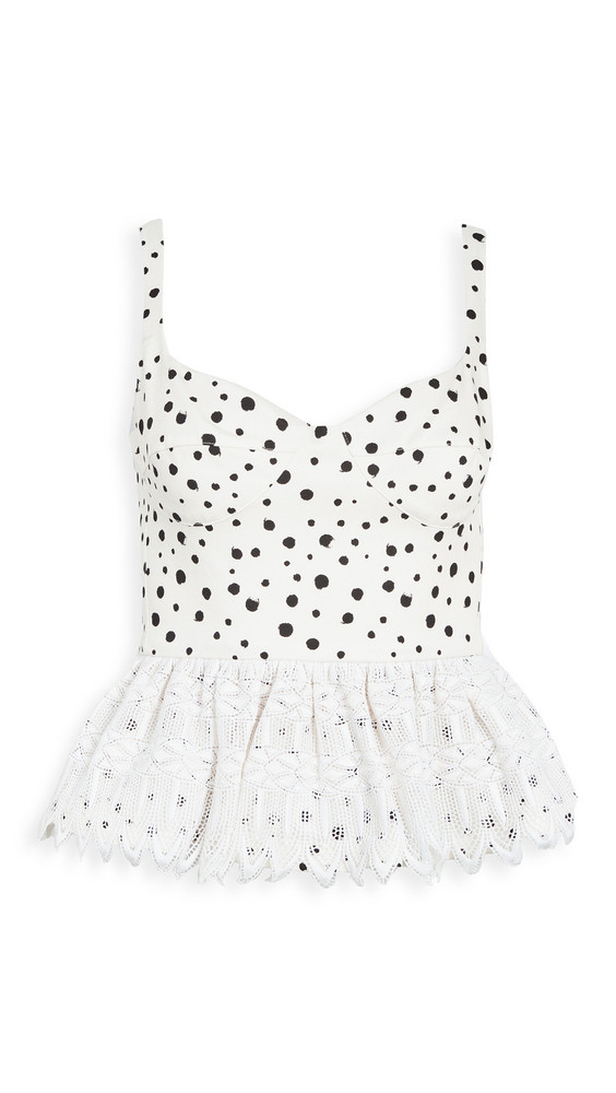 Silvia Tcherassi La Banquera Dot Peplum Top in black / white