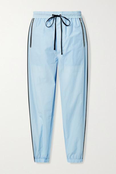 3.1 Phillip Lim - Cotton-blend Jersey Track Pants - Sky blue