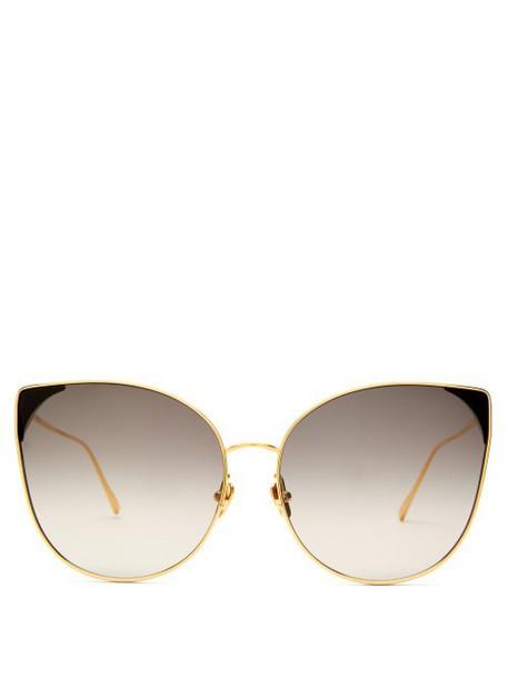 Linda Farrow - Oversized Cat Eye Gold Plated Sunglasses - Womens - Black