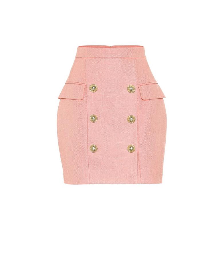 Balmain High-rise miniskirt in pink