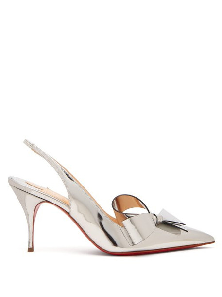 Christian Louboutin - Clare Nodo 80 Bow Leather Slingback Pumps - Womens - Silver