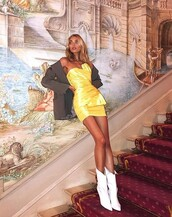 dress,mini dress,yellow,yellow dress,strapless,elsa hosk,model off-duty,instagram