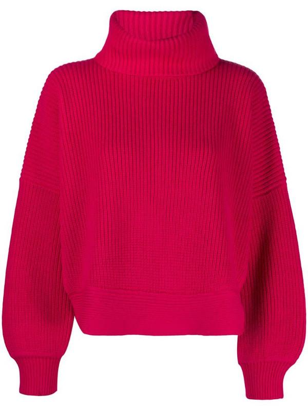 DVF Diane von Furstenberg ribbed high neck jumper in pink
