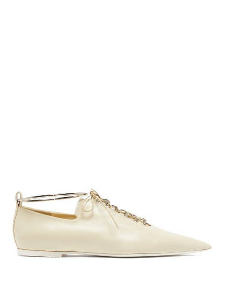 Jil Sander - Anklet And Ring Eyelet Leather Flats - Womens - Cream