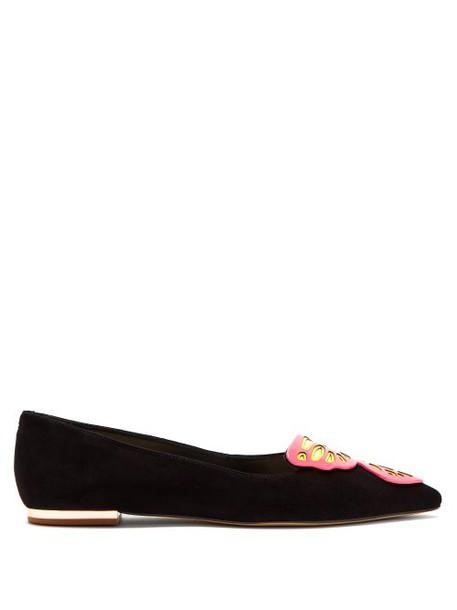 Sophia Webster - Bibi Butterfly Suede Flats - Womens - Black Pink