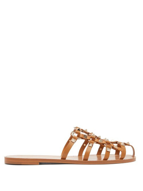Valentino - Rockstud Cage Leather Mules - Womens - Tan