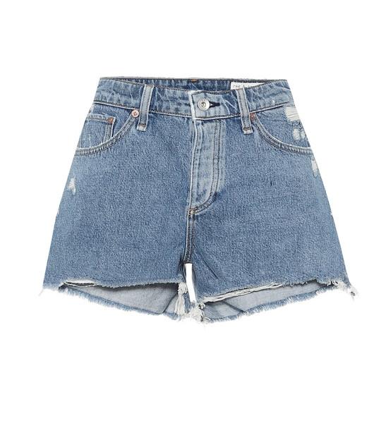 Rag & Bone Dre distressed denim shorts in blue