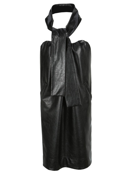 Msgm Faux Leather Belted Dress in black