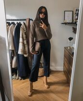 sweater,turtleneck sweater,lace up boots,cropped pants,bag