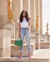 top,white blouse,louis vuitton,high waisted jeans,boyfriend jeans,cropped jeans,pumps,bag