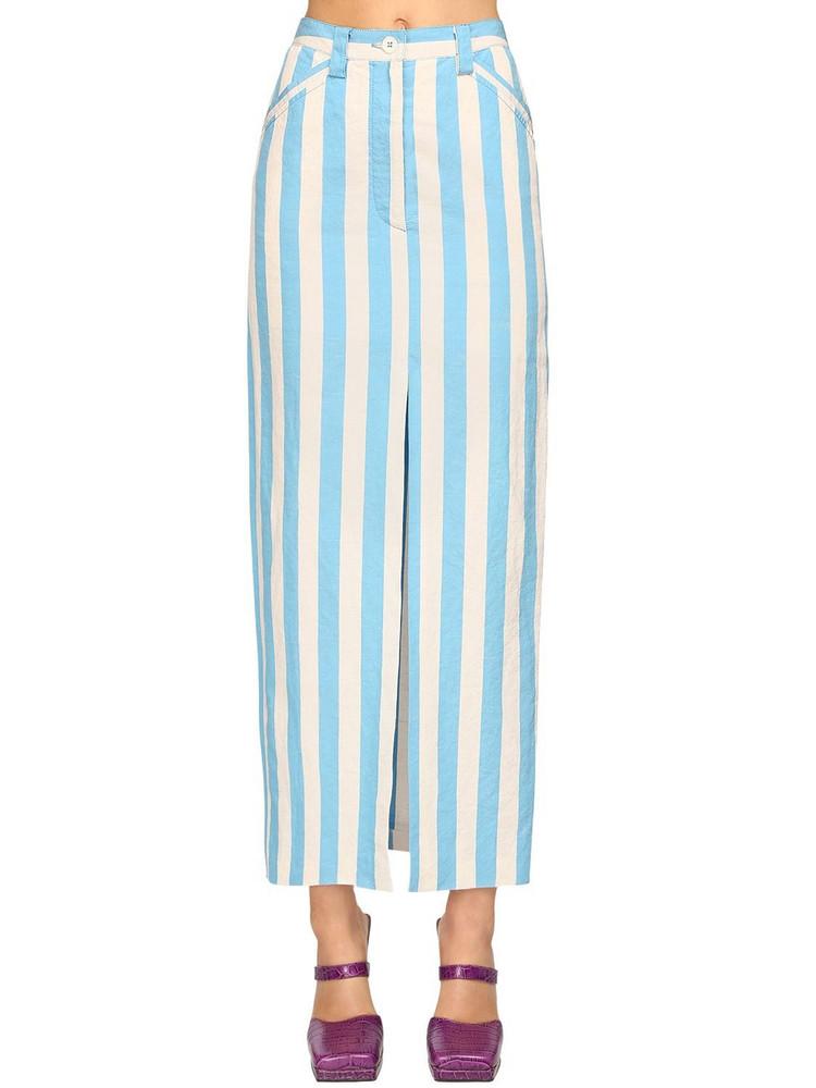 SUNNEI Striped Cotton Blend Midi Pencil Skirt in blue / white