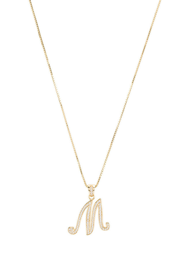 The M Jewelers NY The Iced Out Script Initial M Necklace in gold / metallic
