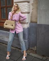 bag,slide shoes,straight jeans,cropped jeans,pink blazer,white t-shirt,belt