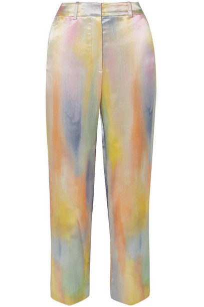 Sies Marjan - Willa Cropped Printed Satin Straight-leg Pants - Blue