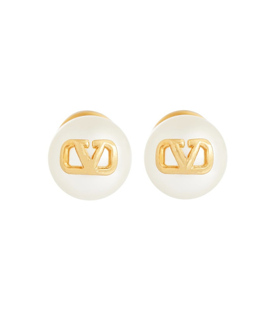 Valentino VLOGO faux pearl stud earrings in gold