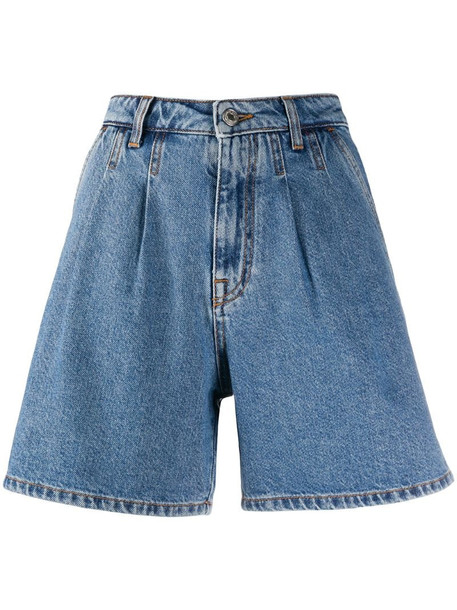 MSGM high-rise pleated A-line denim shorts in blue