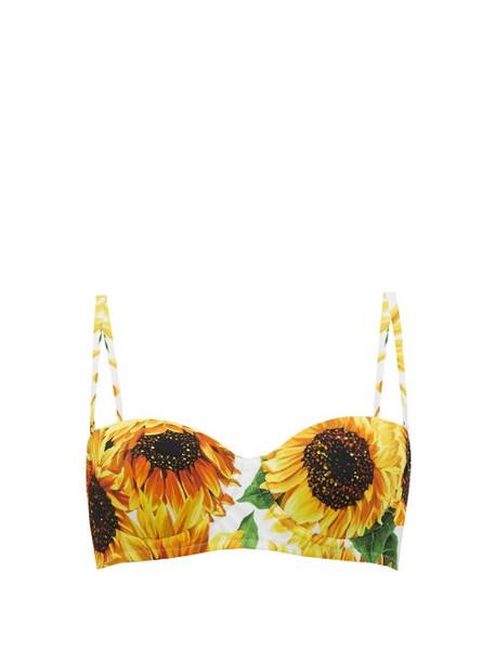 Dolce & Gabbana - Sunflower Print Balconette Bikini Top - Womens - Yellow Print