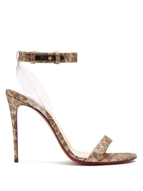 Christian Louboutin - Jonatina 100 Leopard Print Leather Sandals - Womens - Leopard