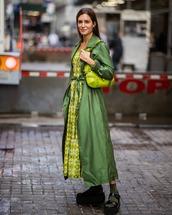 dress,yellow dress,plaid,michael kors,midi dress,green coat,trench coat,long coat,platform sandals,flat sandals,socks,green bag,shoulder bag