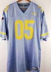 shirt,fubu,jersey,blue,yellow,vintage,90's shirt