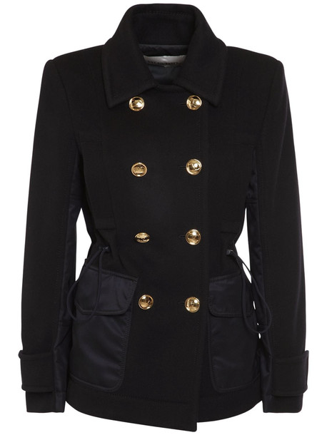 VALENTINO Compact Wool & Cashmere Caban Coat in navy