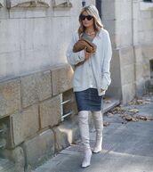 sweater,white cardigan,mini skirt,denim skirt,over the knee boots,white boots,bag
