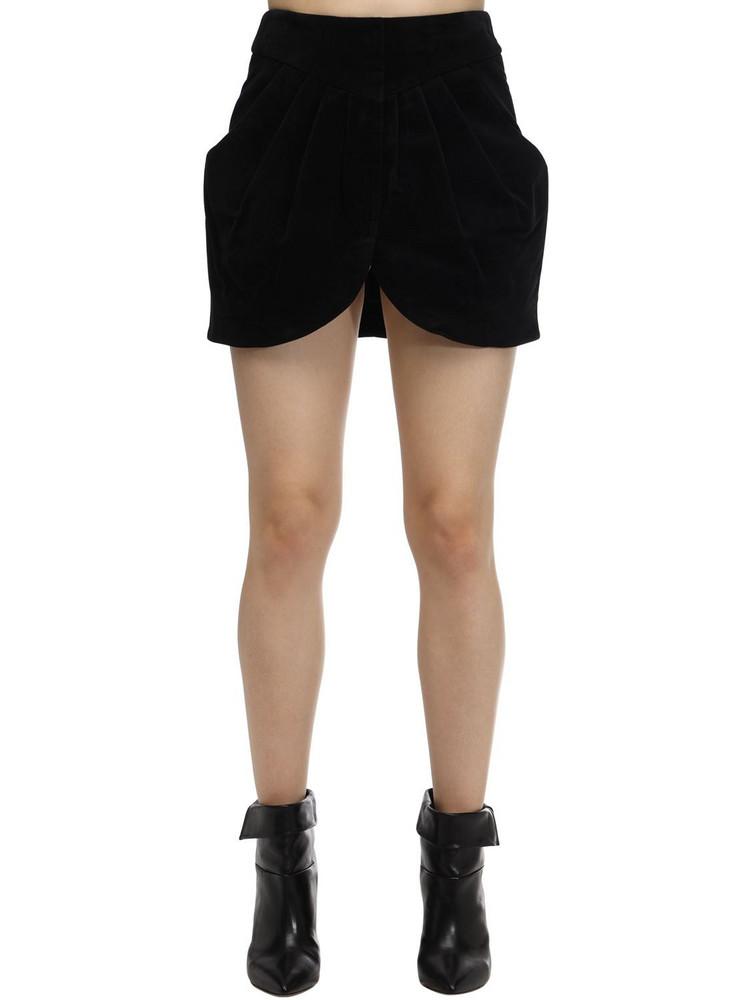 ISABEL MARANT Delilah Moleskin Cotton Draped Skirt in black