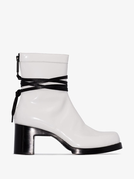 1017 ALYX 9SM White Bowie 70 patent leather tie boots