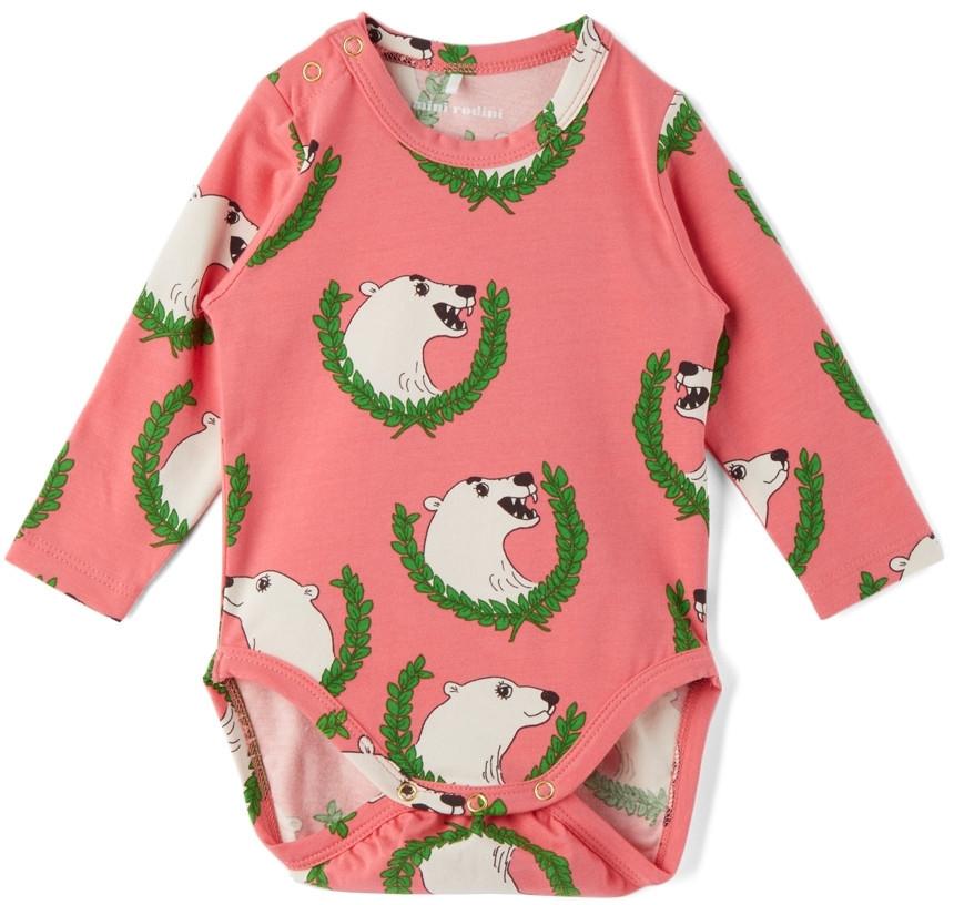 Mini Rodini Baby Polar Bear Long Sleeve Bodysuit in pink