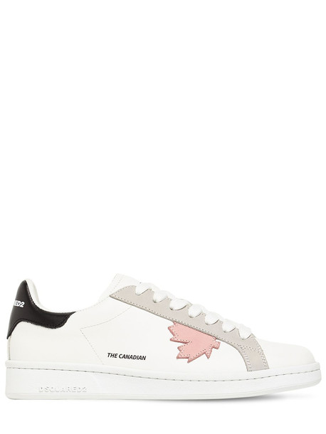 DSQUARED2 20mm Leather Low Top Sneakers in grey / pink / white