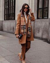 pants,beige coat,straight pants,pumps,scarf,white sweater,turtleneck sweater