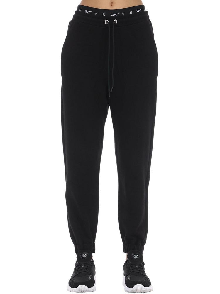 REEBOK X VICTORIA BECKHAM Logo Cropped Cotton Track Pants in black