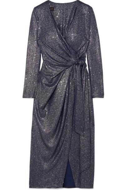 Talbot Runhof - Botin Sequin-embellished Stretch-lamé Wrap Midi Dress - Navy