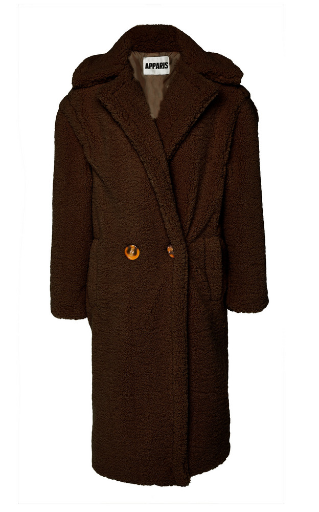 Apparis Daryna Double Button Long Lined Teddy Coat in brown