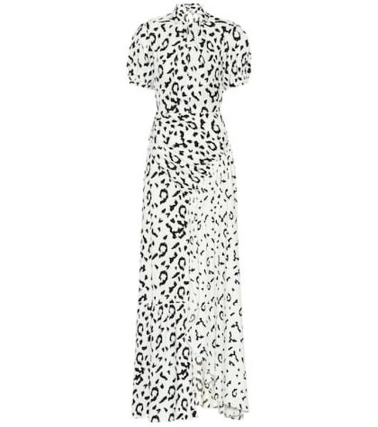 Self-Portrait Leopard printed maxi dress in white