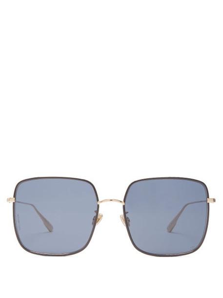 Dior Eyewear - Diorbydior Chain Edge Square Metal Sunglasses - Womens - Blue