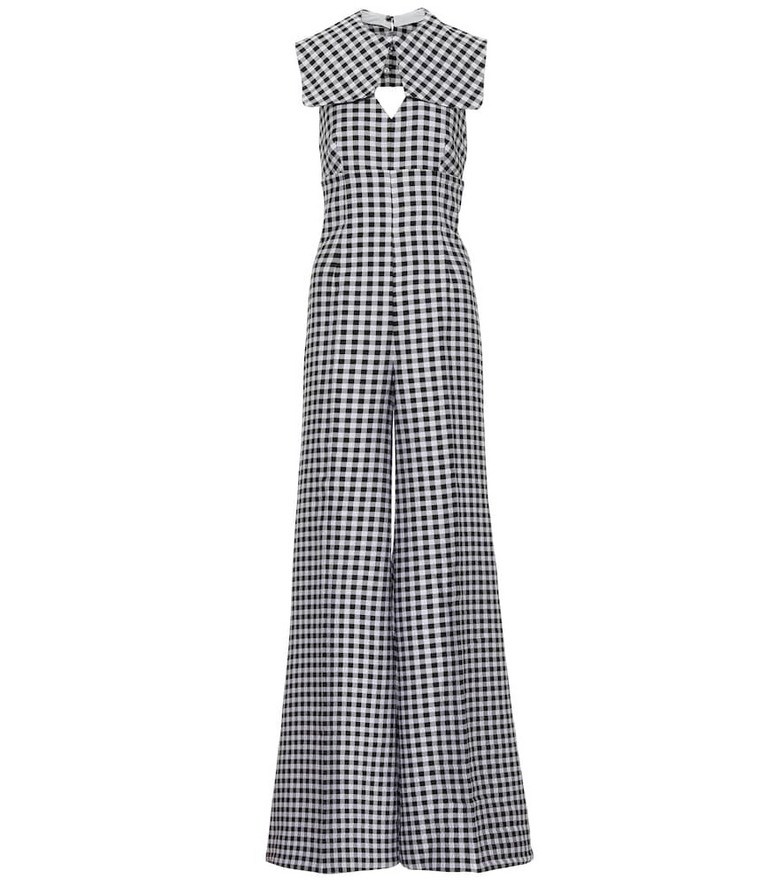 Emilia Wickstead Anthea gingham cloqué jumpsuit in black