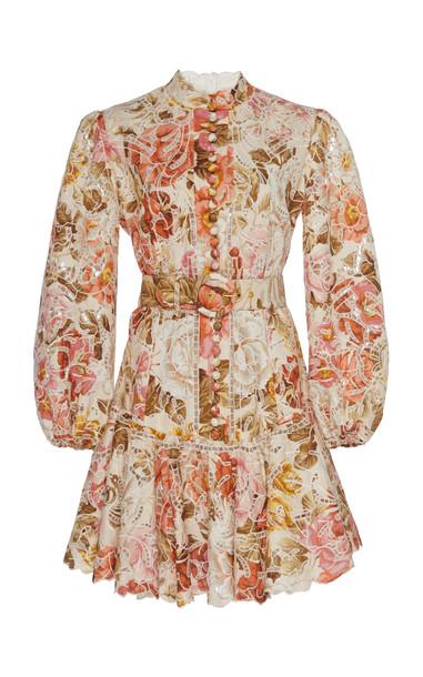Zimmermann Bonita Floral-Print Linen And Cotton-Blend Mini Dress Size: in neutral